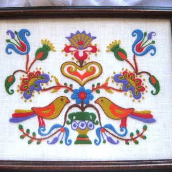 Beautiful Vintage Crewel Embroidered Multicolored Birds Flowers Wall Art Framed Great