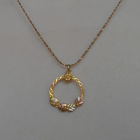 Black Hills 10K Gold Pendant, Tri Tone Etched Wreath, Gold Filled Chain, Young Girl