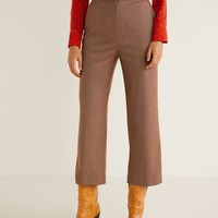 Straight checkered trousers - Women | MANGO United Kingdom