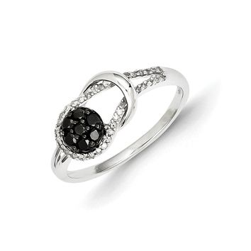 1/3 Ctw Black & White Diamond Love Knot Ring in Sterling Silver