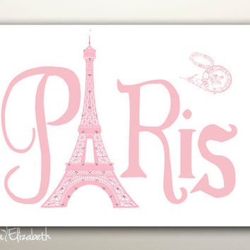 Paris with Love Paris Typography wall decor Vintage pink Post card stamp Eiffel tower art print French Typographic poster Girls room decor