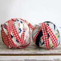 Vintage fabric Rag Balls in red, white and blue / primitive home decor