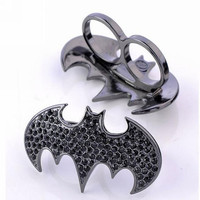 Fashion Jewelry Black Batman Rings Diamond Double Finger Ring = 1927902020