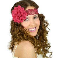 Flower Headband Dark Fuchsia Lace Headband Bohemian headband wedding headband wine bridesmaids headband bridal gifts stretch headband cute