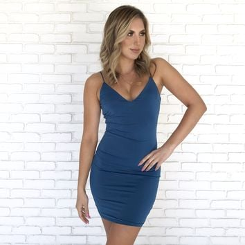 Soft Focus Dress In Blue
