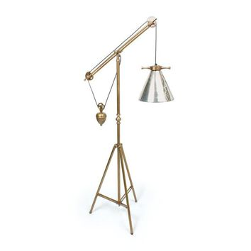 Weighted Floor Lamp with Antique Silver Glass Shade