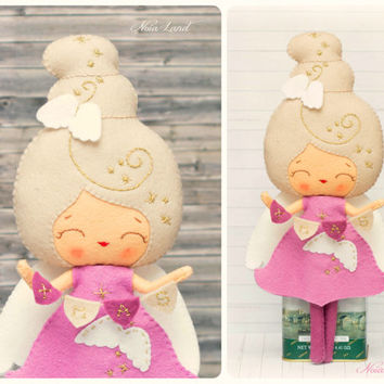 PDF. Christmas angel doll. Plush Doll Pattern, Softie Pattern, Soft felt Toy Pattern.