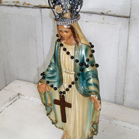 Pearlized chalkware Madonna statue French inspired embellished Virgin Mary with crown home decor Anita Spero