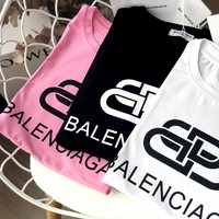 Free shipping-Balenciaga Tide brand double B lock letter logo loose short-sleeved T-shirt