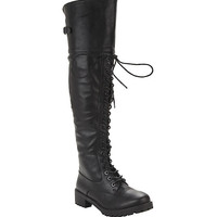 Black Over-The-Knee Combat Boots