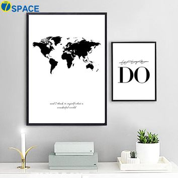 7-Space World Map Canvas Nordic Wall Art Canvas Painting Black And White Print Poster Decorative Pictures Living Room Study Room