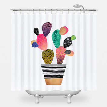 Happy Cactus Shower Curtain