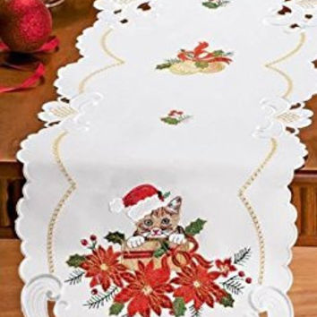 Cat Poinsettias Ribbon Holly Embroidered Red Santa Hat Table Runner