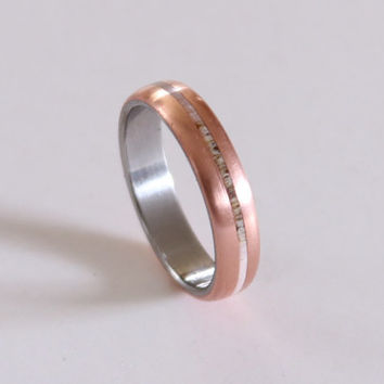 Titanium band for women with copper and antler inlay