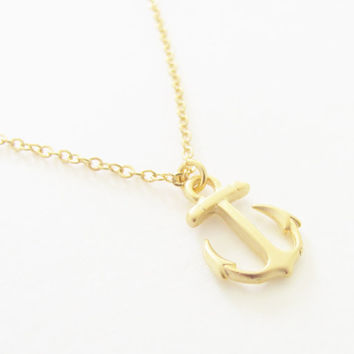 Tiny Gold Anchor Necklace - Dainty Matte Gold Anchor Nautical Charm Gold Plated, Wedding, Bridal, Bridesmaid, Beach, Preppy Nautical