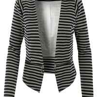 LE3NO Womens Slim Fit Striped Blazer Jacket with Detachable Hem (CLEARANCE)