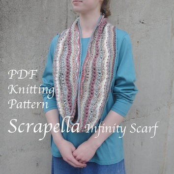 Scrapella Infinity Scarf PDF Knitting Pattern, Cowl Scarf, Worsted Scrap Yarn, Multicolor Striped