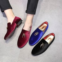 2018 Trendy British Designer Men pointed tassel BLue Homecoming party dress oxford wedding shoes flats loafers male moccasins