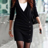 Solid Color Button Embellished Casual Plunging Neck Long Sleeve Dress