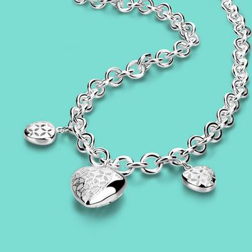 925 Sterling Silver Triple Heart Necklace
