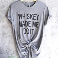 distracted - whiskey made me do it unisex triblend graphic tee - grey/black