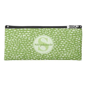 Green Wave textured pattern Monogram Pencil Case