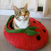 Strawberry wool felted cat cave/cat bed/pet bed