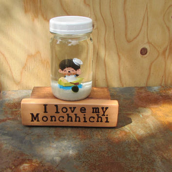 Monchhichi Marimo Terrarium Kit on Branded Wood Stand - I Love my Monchhichi Vintage 1983 -Good Luck Gift for 80's Lover- Retro 80's Gift