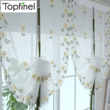 Top Finel 2016 Hot Tulle for Window Roman Curtain Blinds Embroidered Voile Sheer Curtains for Kitchen Living Room the Bedroom