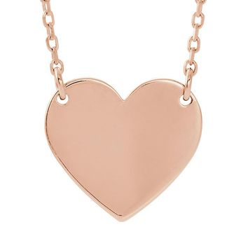14k Yellow, White or Rose Gold Engravable 11 x 12mm Heart Necklace