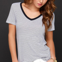 Don't Mean Maybe Navy Blue Striped Tee