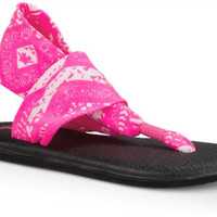 Sanuk Yoga Sling 2 Hot Pink Tribal Flip Flops