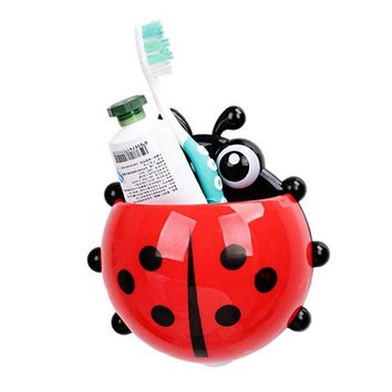 DCCKL72 Creative Home Accessories Cartoon Ladybird Toiletries Toothpaste Holder Bathroom Sets Suction Hooks Tooth Brush Holder