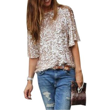 LASPERAL 2018 New Fashion Women Short Sleeve Sequins T-Shirt Casual Loose O Neck Summer Streetwear Tee Tops Blusas Plus Size 5XL