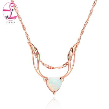ZHE FAN Women Angel Wings Pendant Necklace White Heart Fire Opal Rose Gold Color Plated Wedding Party Jewelry 3 Ways Wearing