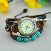 Vintage Style Leather Belt Watch with Turquoise Beads