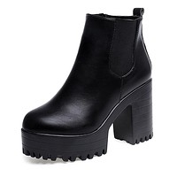 Women Boots Square Heel Platforms Leather Thigh High Pump Boots