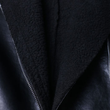 Black Lapel Faux Shearling Buckle Detail PU Jacket