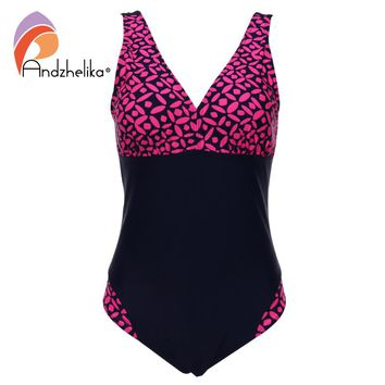Andzhelika Plus Size Swimwear One Pieces Swimsuits pint Geometric Patchwork Solid high waist bathing suits Swimming 7XL 8285-3
