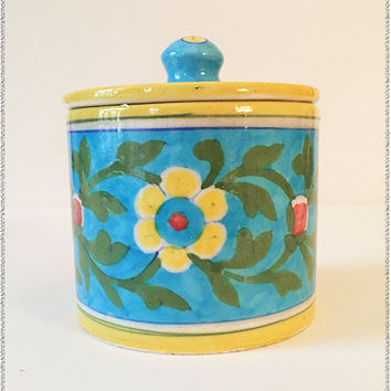 Turquoise Pottery Canister