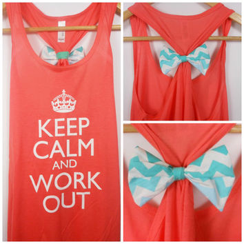 Chevron Bow / Keep Calm and Work Out / Bow Tank Top / Workout Tank / Crossfit Tank Top / Gym Tank