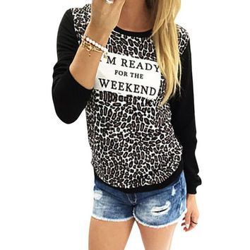 Style  Fashion Women Leopard Print Shirts Long Sleeve Casual Loose T shirt Female Tee Tops T-shirt Women Clothes GS