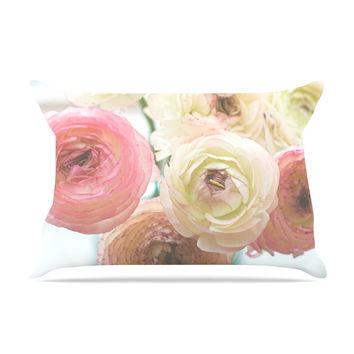 "Debbra Obertanec ""Pastel Ranunculus"" Pink White Pillow Case"