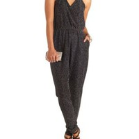 Glitter Knit Halter Jumpsuit by Charlotte Russe - Silver Metallic