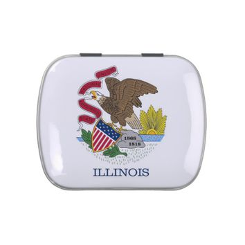 Patriotic candy tins with Flag of Illinois