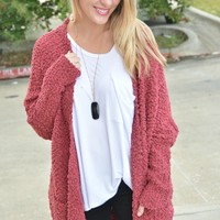 Wherever You Go Cardigan - Burgundy