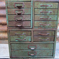 Industrial Metal Bins Set of 3 Green Rusty Filing Cabinets for Parts or Storage Steampunk Industrial Metal