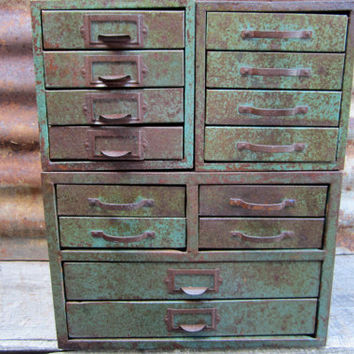 Metal Bins Set Of 3 Green Rusty Filing Cabinets For Parts Or Storage Steampunk