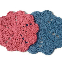 Handmade Crochet Coasters Doilies Deep Pink and Country Blue 110