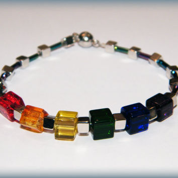 CubicPride Bracelet .. Gay Pride bracelet with rainbow glass cubes, silver cube beads, rainbow sheen glass tube beads and a magnetic clasp.